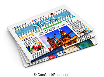 Stack of newspapers with business news isolated on white...