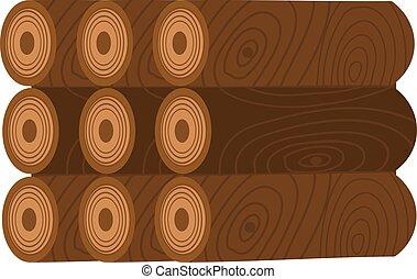 Stack of nine wooden logs firewood lumber tree cut flat illustration.