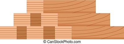 Stack of nine wooden logs firewood lumber tree cut flat vector illustration.