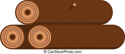 Stack of nine wooden logs firewood lumber tree cut flat vector illustration.