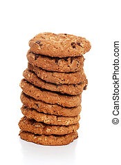 stack of oatmeal chocolate cookies