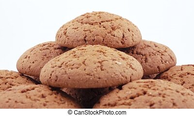 Stack of oatmeal cookies - Oatmeal cookies lie with a...