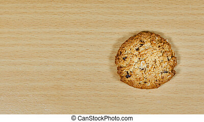 Stack of oatmeal cookies on wooden