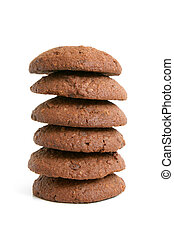 Stack of oatmeal cookies with chocolate