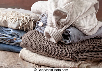 stack of of warm clothes