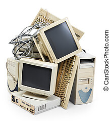 stack of old and obsolete computer, isolated
