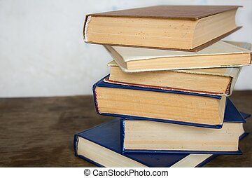 Stack of old big books