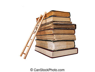 Stack of old books and wooden ladder isolated on a white background.