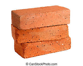 Stack of old red bricks isolated on white background