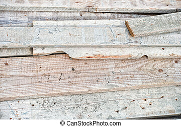 Stack Of Old Wooden Studs At The Lumber Yard