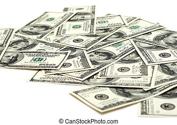 stack of one hundred dollar bills U.S.