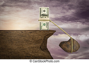Stack of one hundred dollar depressed with rock and rope on cliff at sunset magenta day. Your Next Stimulus Payment May Be the Final One or Don't bank on tons of stimulus cash concept. 3D Illustration