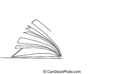 Stack of opened books in style of one line. Black contour. Graphic motion. Self drawing