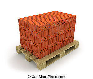 Stack of orange bricks on pallet, isolated on white background, diagonal view