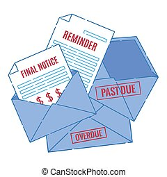 Stack of overdue bills for unpaid services