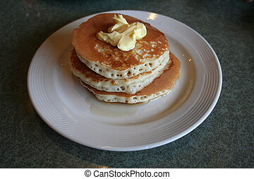 Stack of pancakes - A stack of breakfast pancakes with syrup...