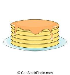 Stack of pancakes icon, cartoon style