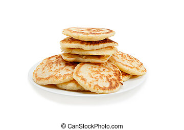 Stack of pancakes. Isolated at white background.