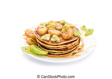 Stack of pancakes isolated on white background.
