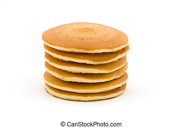 Stack of pancakes over white