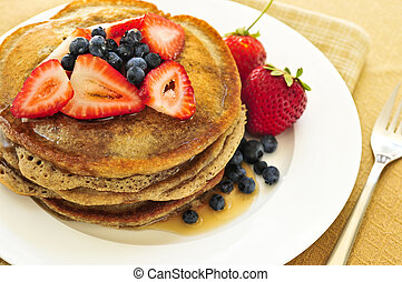 Stack of pancakes - Stack of buckwheat pancakes with fresh...