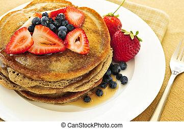 Stack of pancakes - Stack of buckwheat pancakes with fresh ...