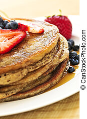Stack of pancakes - Stack of buckwheat pancakes with fresh ...
