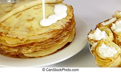 Stack Of Pancakes - stack of pancakes over white