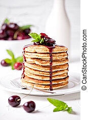 Stack Of Pancakes With Cherry Topping - Bunch of homemade ...