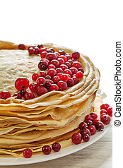Stack of pancakes with cranberries fresh  breakfast