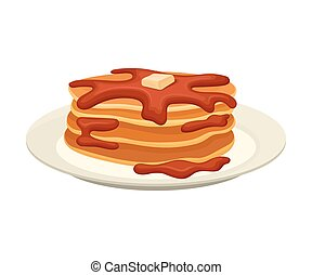 Stack of pancakes with liquid chocolate. Vector illustration on white background.