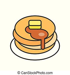 stack of pancakes with syrup, sweets and pastry set, filled outline icon