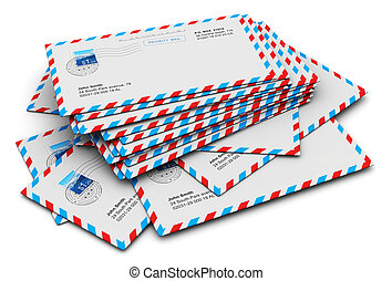 Stack of paper airmail letters