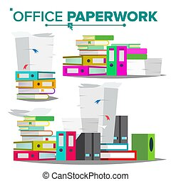 Stack Of Papers, File Folders Vector. Cluttered ...