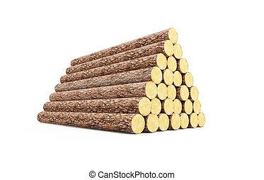 stack of pine logs