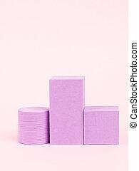 Stack of pink blocks. Geometrical figures still life ...