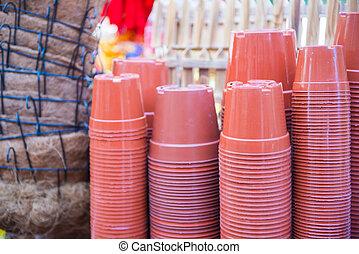 Stack of plastic flower pot for sale