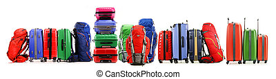 Stack of plastic suitcases isolated on white background