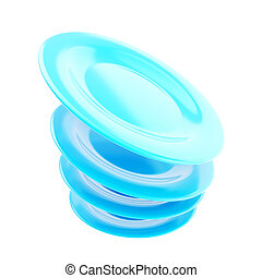 Stack of plate dishes in a motion isolated
