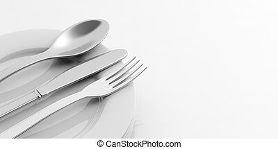 Stack of plates and cutlery on white background. 3d...