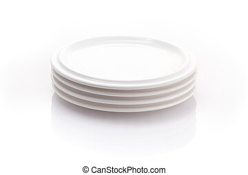 stack of plates isolated on a white background