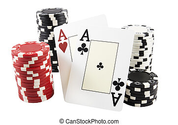 Stack of poker chips and two aces