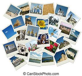 Stack of polaroid shots with Ukrainian landmarks