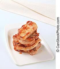 Stack of pork cutlets