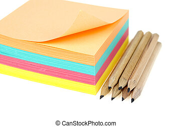 Stack of post-it - Stack of colorful post-it and pencils...