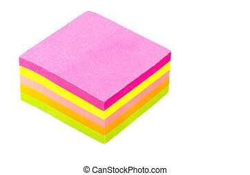 Stack of Postits - Stack of sticky post-it note pads, some...