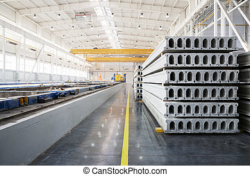 Stack of precast reinforced concrete slabs in a...