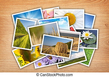 Stack of printed pictures collage
