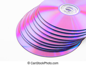 Stack of purple DVDs - Stack of vibrant purple DVDs or CDs...