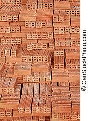 Stack of Raw Bricks